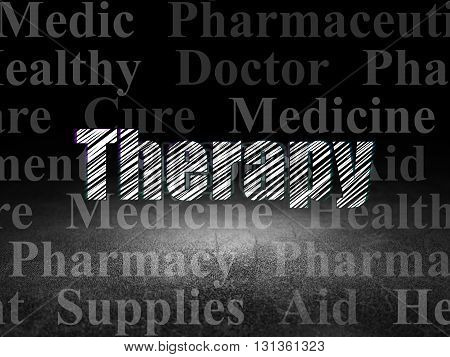 Medicine concept: Glowing text Therapy in grunge dark room with Dirty Floor, black background with  Tag Cloud