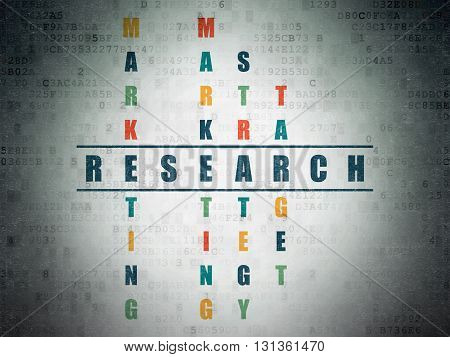 Advertising concept: Painted blue word Research in solving Crossword Puzzle on Digital Data Paper background
