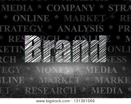 Marketing concept: Glowing text Brand in grunge dark room with Dirty Floor, black background with  Tag Cloud