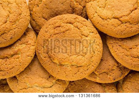 fresh oatmeal delicious round cookies close-up big group