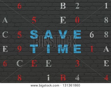 Timeline concept: Painted blue text Save Time on Black Brick wall background with Hexadecimal Code