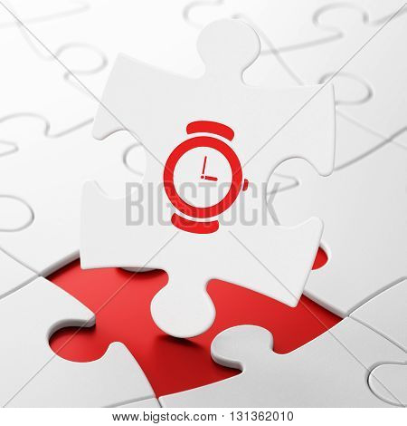 Timeline concept: Hand Watch on White puzzle pieces background, 3D rendering
