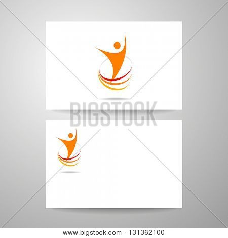 Success logo. Energy symbol. Winner logo template. Business card design. Identity business concept. Human abstract.