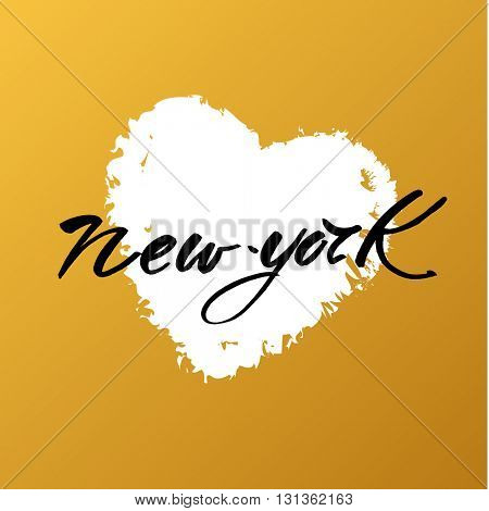 New York city  lettering design template. New York inscription no gold background with white heart. Handwritten quote.
