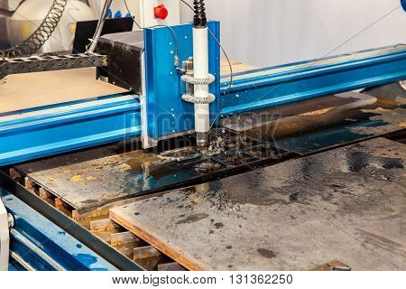 Machine for constant metal laser cutting metal processing close up