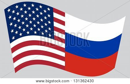 American and Russian flags waving on gray background