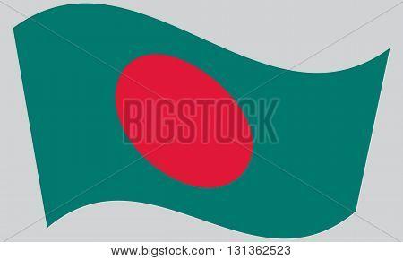 Flag of Bangladesh waving on gray background