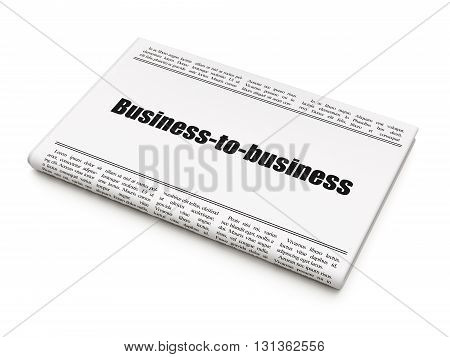Finance concept: newspaper headline Business-to-business on White background, 3D rendering
