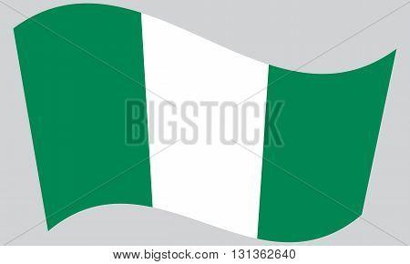 Flag of Nigeria waving on gray background