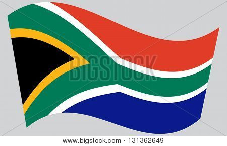 Flag of South Africa waving on gray background