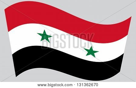 Flag of Syria waving on gray background