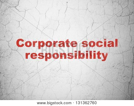 Business concept: Red Corporate Social Responsibility on textured concrete wall background