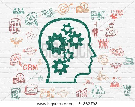 Business concept: Painted green Head With Gears icon on White Brick wall background with Scheme Of Hand Drawn Business Icons