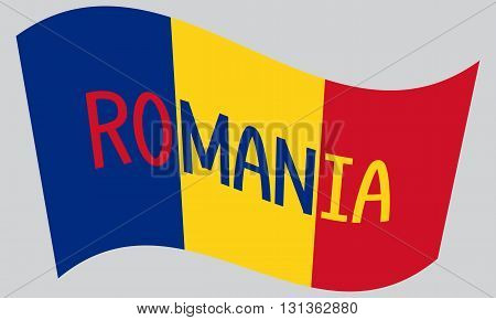 Romanian flag waving with word Romania on gray background