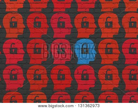 Finance concept: rows of Painted red head with padlock icons around blue head with padlock icon on Black Brick wall background