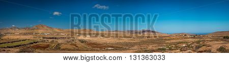 Panoramic view of the landscape of Fuerteventura, Canary Islands, Spain