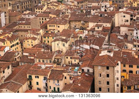 Florence bird eye view over terracotta roofs