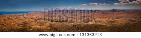 Panoramic view of the landscape of Fuerteventura as seen from the Morro Velosa viewpoint, Canary Islands, Spain