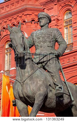 Marshal Zhukov monument near Red Square in Moscow Russia