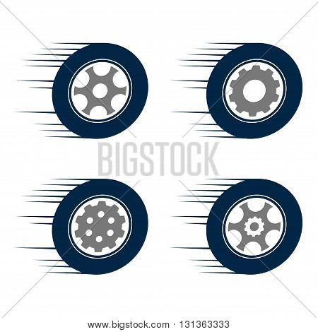 Symbol of Auto Car Speed Tire Wheel