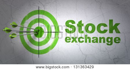 Success business concept: arrows hitting the center of target, Green Stock Exchange on wall background, 3D rendering