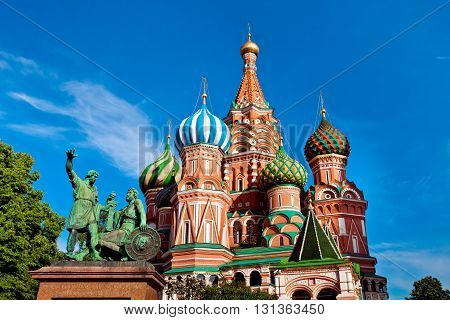 St. Basil's Cathedral on Red square in Moscow. Monument of Minin and Pozharsky in Moscow Russia. Main attractions of Moscow city