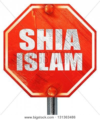 shia islam, 3D rendering, a red stop sign