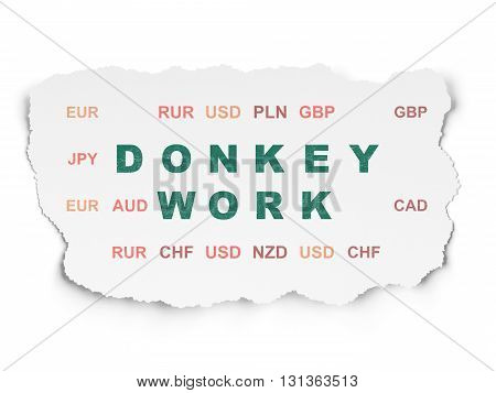 Business concept: Painted green text Donkey Work on Torn Paper background with  Currency