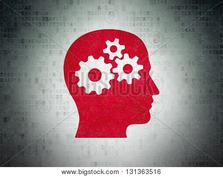 Business concept: Painted red Head With Gears icon on Digital Data Paper background with Scheme Of Binary Code