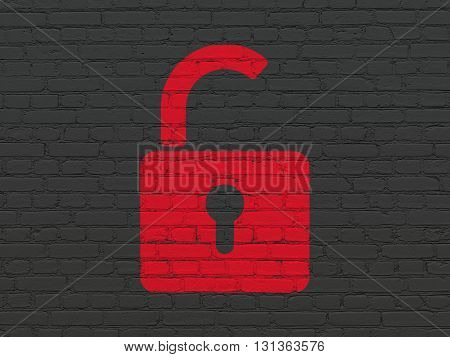 Protection concept: Painted red Opened Padlock icon on Black Brick wall background