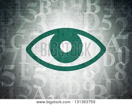 Protection concept: Painted green Eye icon on Digital Data Paper background with  Hexadecimal Code