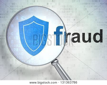 Security concept: magnifying optical glass with Shield icon and Fraud word on digital background, 3D rendering