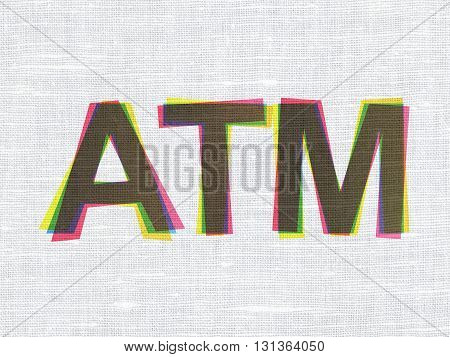 Currency concept: CMYK ATM on linen fabric texture background