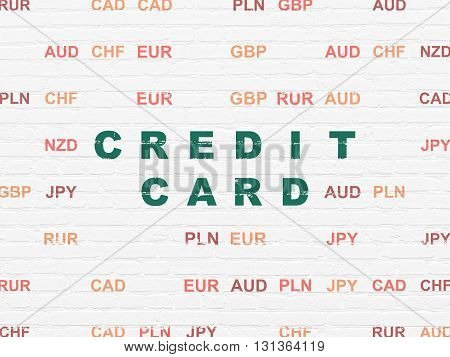 Money concept: Painted green text Credit Card on White Brick wall background with Currency