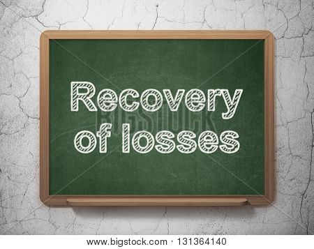 Currency concept: text Recovery Of losses on Green chalkboard on grunge wall background, 3D rendering