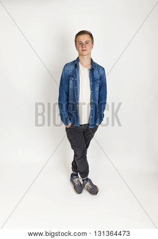 Standing Teenage Boy  In Ful Length Isolated On White