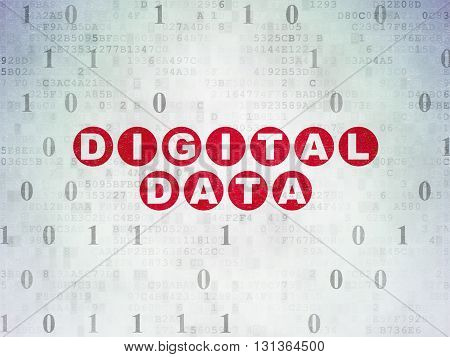 Information concept: Painted red text Digital Data on Digital Data Paper background with Binary Code