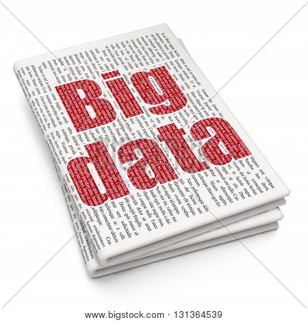 Data concept: Pixelated red text Big Data on Newspaper background, 3D rendering