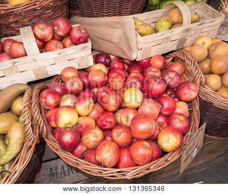 Organic apples for sale at indoor farmers market