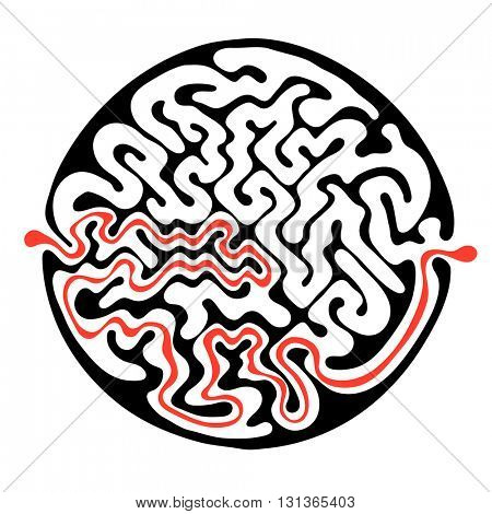 Vector maze, round labyrinth illustration with solution.