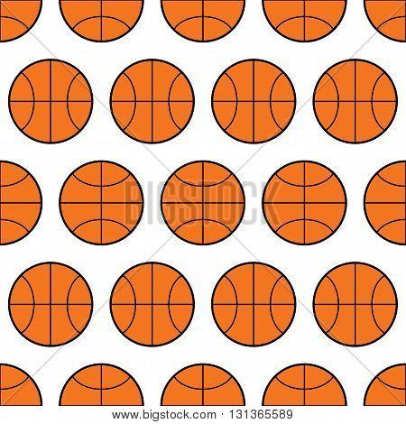 Seamless pattern of basketball, sports balls. Vector illustration