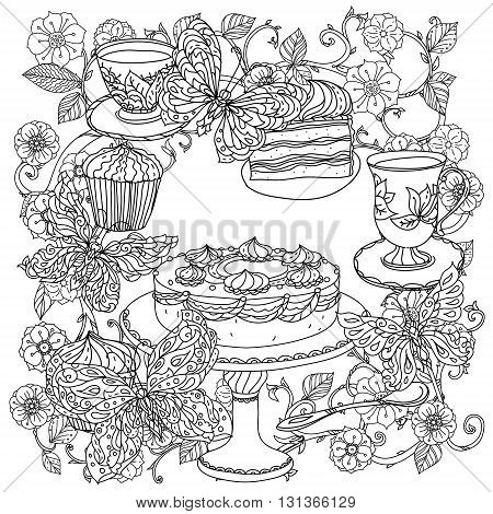 Uncoloured sweets and butterfly for adult coloring book in famous zenart art-therapy antistress style.