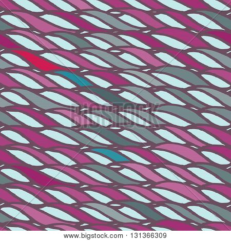 Decorative spiral seamless pattern. Endless illustration with pink twisted horizontal rope ornament on blue backdrop, ornamental ribbon lines. Trendy wave background. For fabric, wallpaper, wrapping