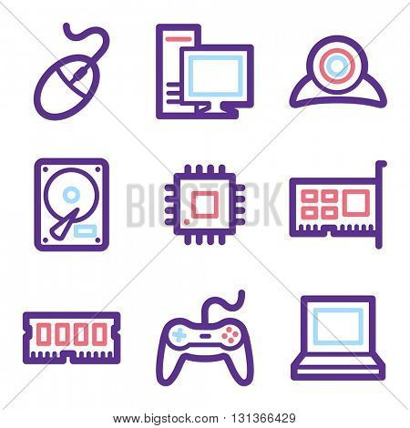 Computer web icons, laptop and desktop; game pad and camera, vector stock signs