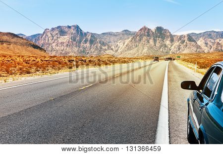 Road in Southern Nevada near Las Vegas summer time USA