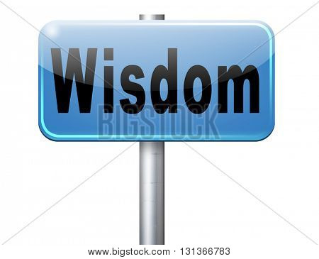 Wisdom, education and knowledge by online learning, road sign billboard.