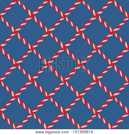 Nautical crossed rope seamless pattern. Endless navy illustration with red fishing net ornament and crossing cord on blue backdrop. Trendy maritime style background. For fabric, wallpaper, wrapping