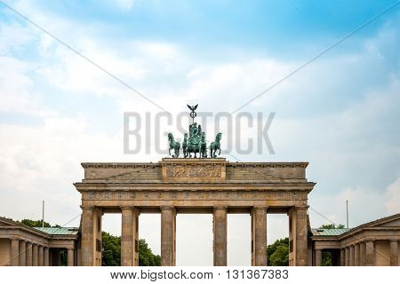 Brandenburg Gate (Brandenburger Tor), famous landmark in Berlin, Germany, rebuilt in the late 18th century as a neoclassical triumphal arch.