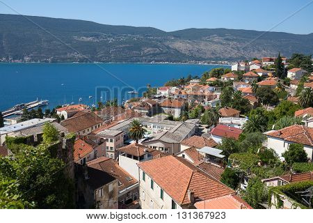 HERCEG NOVI MONTENEGRO - SEPTEMBER 13 2015: View of Herceg Novi from the fortress wall of Forte Mare Montenegro