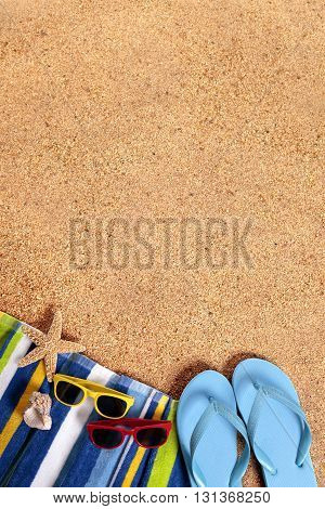 Caribbean summer beach background border sunglasses flip flops copy space